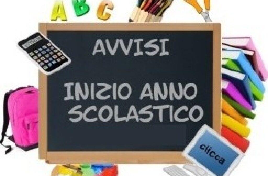 Inizio anno scolastico: avvisi per famiglie e alunne/i